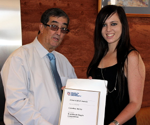 Paul Fitzsimons congratulates Candice Henry on winning the End Break Begin competition. Photo Judith Coverdale