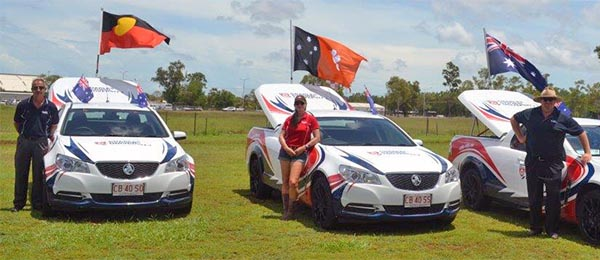 Volunteer drivers Rob Buttery, Sonia Dunford and Neil Jones at the 7 Mate Australia Day Ute Run