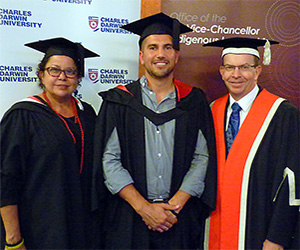 Wendy Ludwig, graduate Joel Liddle and Professor Simon Maddocks at the Indigenous valedictory ceremony in Alice Springs