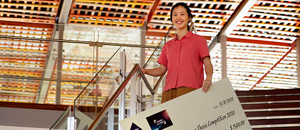 Dr Winnie Chen, pictured after winning the CDU leg of the Visualise your Thesis competition, went up against entrants from around the world