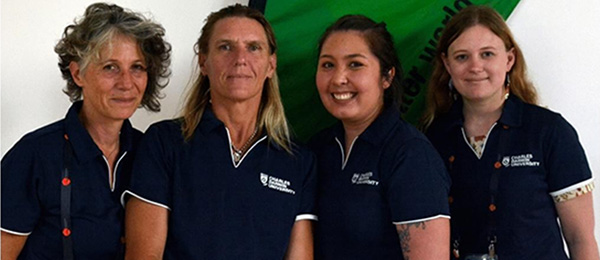 From left: Susi Bertei, Leonie Richards, Kiki Finnigan and Emily Goodale. Image: Engineers Without Borders