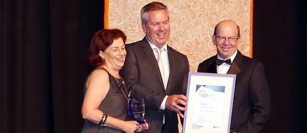 From left: Pro Vice-Chancellor Christine Robertson, Hastings Deering Regional Manager Brad Scholz and Vice-Chancellor Professor Simon Maddocks at the NT Training Awards