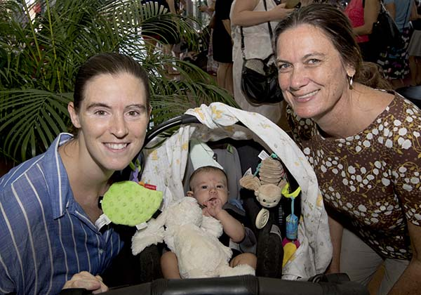 Rebecca Murray (left), baby Theodore Murray and Professor Ruth Wallace