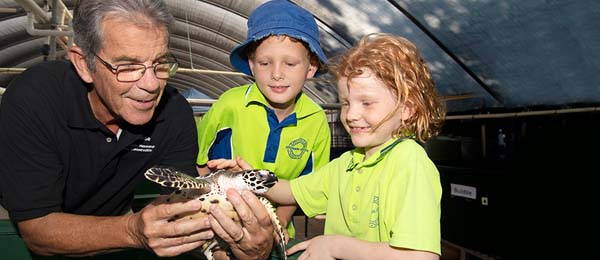 AusTurtle President, Mick Guinea with Jake and Satine Petersen on World Turtle Day