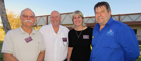 From left: University Fellow Dr Don Zoellner, Acting Director Central Australia Lyle Mellors, Education Minister Eva Lawler and Centralian Senior College Principal Tony Collins