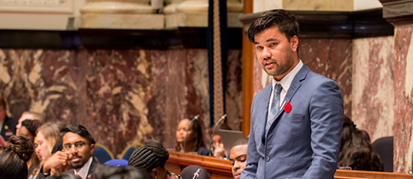 Law student Mark Munnich at the 8th Commonwealth Youth Parliament in Canada. Photo: Legislative Assembly of British Columbia