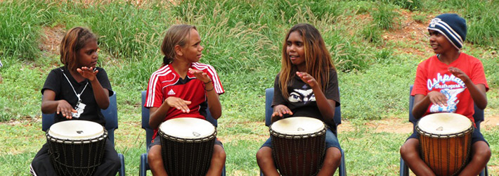 children playing percussions