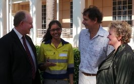Minister for Infrastructure Peter Styles, third year engineering student Priyanka D'Souza, CDU Theme Leader, Rob Wolff and Engineers Australia Director Bronwyn Russell