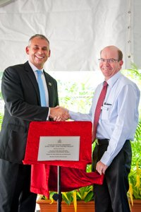 Chief Minister Adam Giles and CDU professor Simon Maddocks open the Structural Load Test Facility