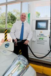 CDU Vice-Chancellor Professor Barney Glover at the new car charging station