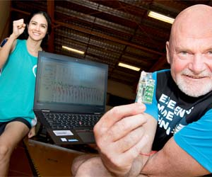 Natalie Merida working with Dr Jim Lee on her quest to complete the New York Marathon