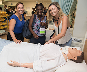 From left: Nursing lecturer Nicole Norman with First Year students at O Week, Betty Sibangani and Nicloe Whatley