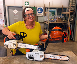 Horticulture lecturer Robyn Wing casts a cautious eye over some of the training equipment.