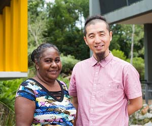 Brenda Muthamuluwuy and Yasunori Hayashi are working together to Yolŋu languages and culture