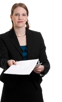 woman holding a document