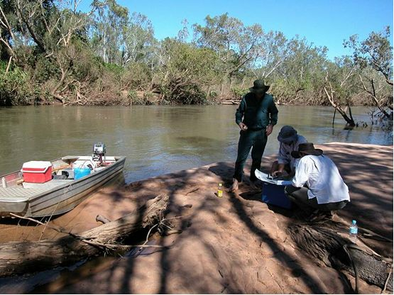 Field assessment of study reaches for low flow modelling of the Katherine River.