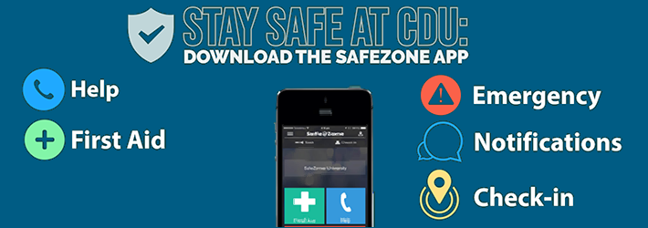 Stay safe at CDU - Download the Safezone app
