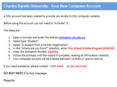 CDUSSP Student ID cards - Instructions to Activate