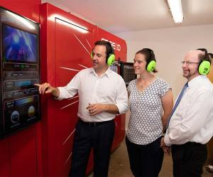 Defence Industry Minister Steven Ciobo, AMA Director Dr Rebecca Murray and CDU Vice-Chancellor Professor Simon Maddocks inspect the LightSPEE3D printer