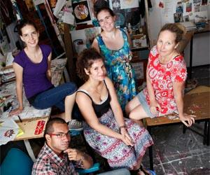 From left: CDU Bachelor of Visual Arts students Serge Ah-Wong, Emma McClellan, Valanti Patmios, Kate Perren Smith and Liz Grylls