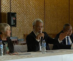 Timor-Leste Prime Minister Kay Rala Xanana Gusmão opens the historic meeting in Dili, which brought together university and government representatives from Indonesia, Australia and Timor-Leste. Participants included CDU Deputy Vice-Chancellor Professor Sharon Bell (left) and Timor-Leste Education Minister Bendito dos Santos Freitas (right)