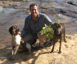 AWC's Hugh McGregor has been using Sally (L) and Brangul (R) for his feral cat research in the Kimberley, with great success. Credit – Terry Mahney