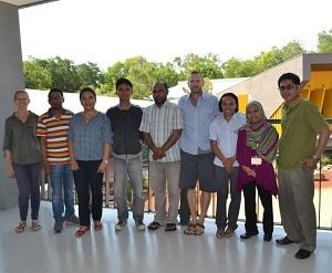 From left: CDU PhD candidate Hannah Ling, workshop facilitator Bernadetta Devi and CDU project leader Rohan Fisher (centre) with the Indonesian Workplace Study Tour participants