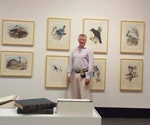 The collection loaned by Dr Andrew Miller includes original lithographic hand-coloured prints of birds by English ornithologist John Gould
