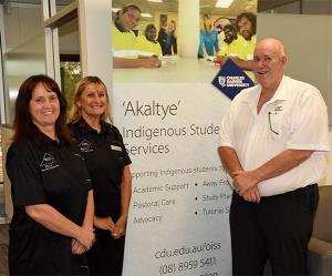 The Akaltye Centre's Sharon Donnellan and Lorraine St Clair with Senior VET advisor Lyle Mellors.