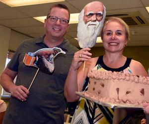 Kelly McCarthy and Teresa Schwellnus were among CDU staff to celebrate Charles Darwin's birthday on Alice Springs campus