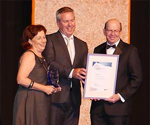 From left: Pro Vice-Chancellor Christine Robertson, Hastings Deering Regional Manager Brad Scholz and Vice-Chancellor Professor Simon Maddocks at the NT Training Awards.