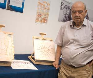 Mr Evangelos Fylaktos with his Greek marbles.