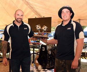 Adam Britten and Ethan Staniforth with the Flying Spanners trophy.