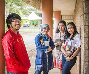 Indonesian staff and students visit Casuarina campus. From left: UGM student Muhammad Luthfiyanto, law lecturer Professor Mailinda Eka Yuniza, and students Hanggana Rasas P.T. and Lulu Fitriani