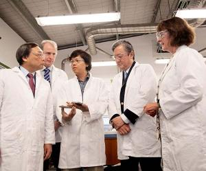 From left - INPEX Corporation CEO Takayuki Ueda, CDU Chancellor Paul Henderson, CDU researcher Dr Khanh Vin Nguyen, INPEX Australia President Director Hitoshi Okawa and acting Vice-Chancellor Professor Sue Carthew during a tour of CDU's North Australian Oil and Gas Centre