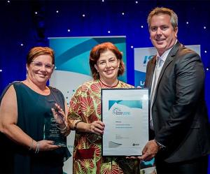 From left: Executive Director VET Education Innovation Kim Hawkins, Pro Vice-Chancellor Christine Robertson and Hastings Deering Regional Manager Brad Scholz at the NT Training Awards.