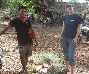 PhD candidate Kim Hunnam (right) is gaining valuable insights into small-scale fisheries research in developing countries.