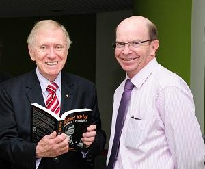 From left: The Honourable Michael Kirby AC CMG met Vice-Chancellor Professor Simon Maddocks while visiting Casuarina campus last year