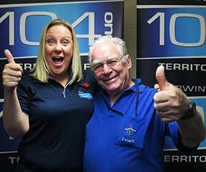 104.1 Territory FM Breakfast presenter Mel Little and Legacy NT president Jack Hamilton