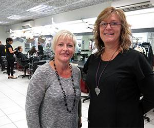 Hairdressing Team Leader Linda Manning and trainer Joanne Scott at CDU's Alice Springs salon ... proud of hairdressing team's industry accolade.
