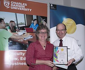 Vice-Chancellor Professor Simon Maddocks presented the CDU Travel Short Story Award to Barbara Eather