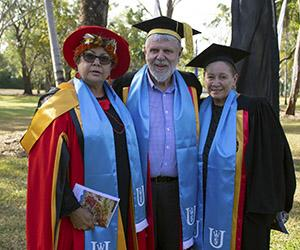 From left: Dr Wendy Ludwig, Professor Mark Rose and Professor Boni Robertson. Image: Batchelor Institute