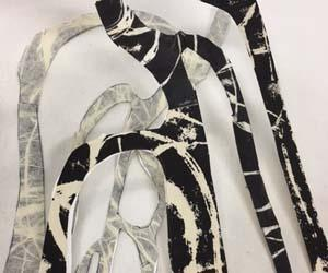 Kerrie Taylor employs layered imagery, mostly using printmaking techniques