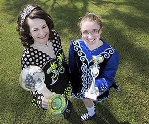 From left: World champion Michelle Spillane and Christine Collins did Australia proud at Irish dancing competitions.