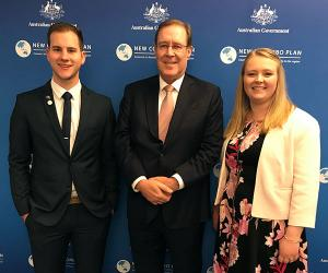 Deputy Vice-Chancellor Andrew Everett (centre) with New Colombo Plan Scholarship recipients Joel Kennaway and Jessica Kelly.