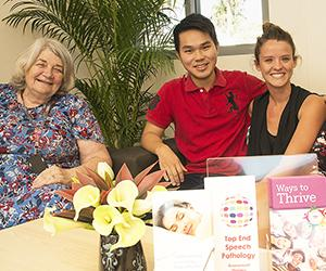 Some of the team at the CDU Psychology Clinic. From left: Associate Professor Suzanne Midford with students Kyle Tsong and Emma Laughan