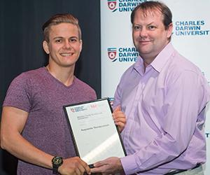 Augustine Thorbjornsen, winner of the Westpac Young Technologists Scholarship in 2016, with Head of the School of Psychological and Clinical Sciences Professor Timothy Skinner