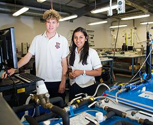 St Philip's College students River Pachulicz (left) and Mitali Rawat at Year 11 Science Excellence Experience