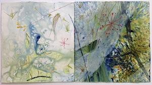 """CDU visual arts lecturer Sarah Pirrie created the work, """"Above water"""", as part of the exhibition"""