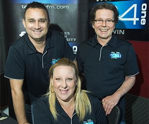 Territory FM radio personalities acting station manager Matt Bern, Breakfast announcer Mel Little and former station manager Jih Seymour.